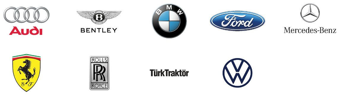 Logos of Angst+Pfister's main OEM customers in the automotive industry