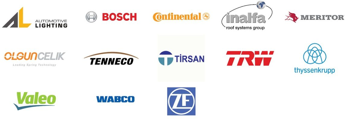 Logos of Angst+Pfister's main automotive supply customers