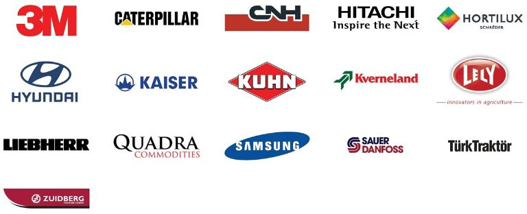 Logos of Angst+Pfister's main customers in the agricultural and construction machinery industry
