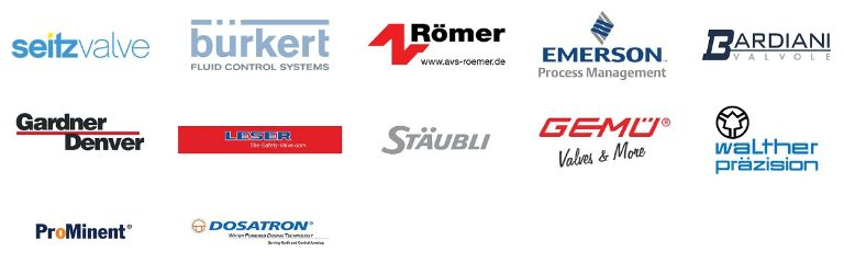 Logos of Angst+Pfister's main customers in the process industry