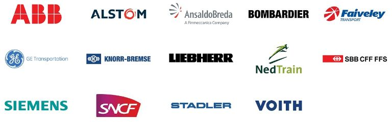 Logos of Angst+Pfister's main customers in the railway industry
