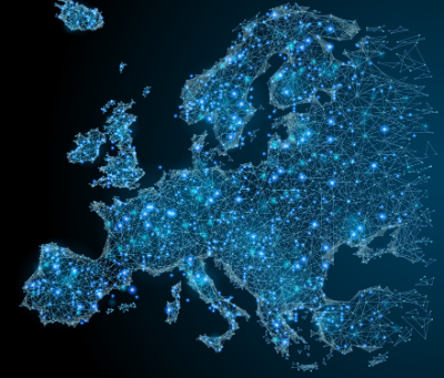 Map of Europe with blue connecting dots and lines