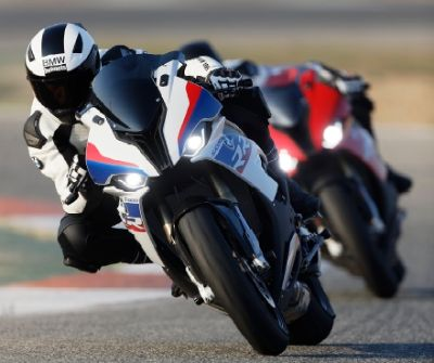 BMW S 1000 RR motorcycle in a race