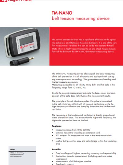APSOdrive® TM-NANO belt tension measuring flyer