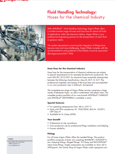 APSOfluid® Hoses for the Chemical Industry flyer