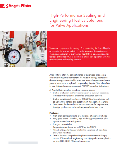 High Performance Sealing and Engineering Plastics Solutions for Valve Applications flyer