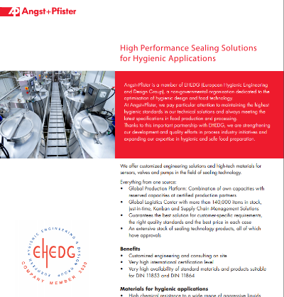 High Performance Sealing Solutions for Hygienic Applications flyer