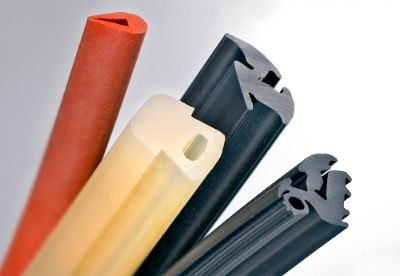 Four different colorful door and window elastomer profiles