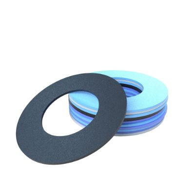 Stack of flat gaskets in blue and black