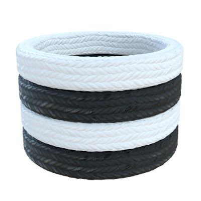 White and black gland packings with braided yarns made of ramie, aramid, PTFE, graphite and carbon fibre