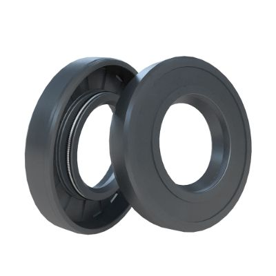 Two black radial shaft seals leaning on each other