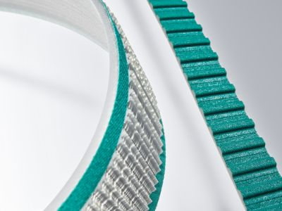 Belts for transportation overview: Green-white timing belts