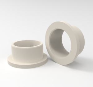 Beige flanged bearing sleeve in APSOplast PA 66, mod.